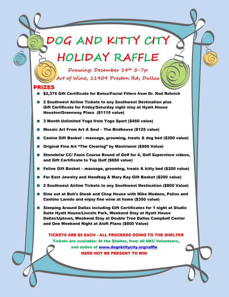 christmas raffle poster templates - hsdc holiday raffle 2014 humane society of dallas county